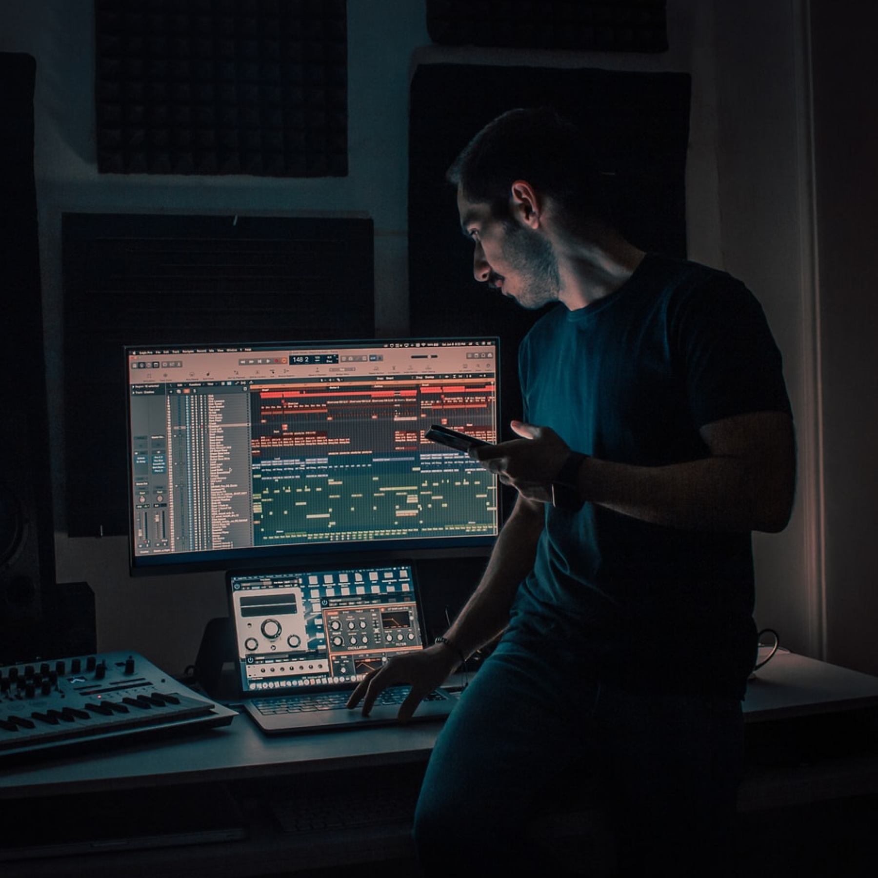 A music producer in their studio.
