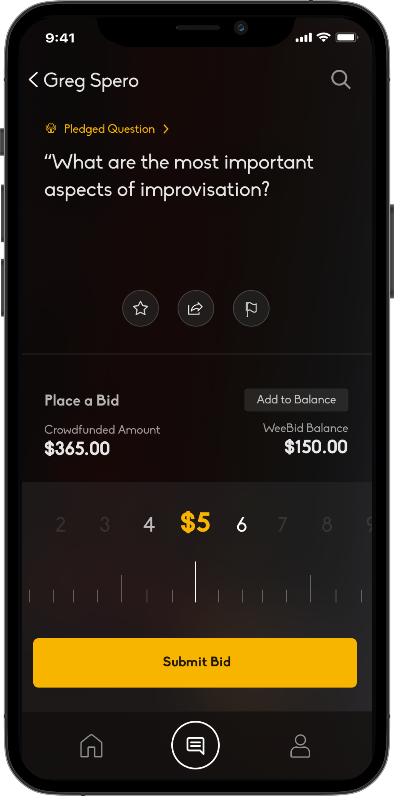 A mobile device displaying a bidding interface.