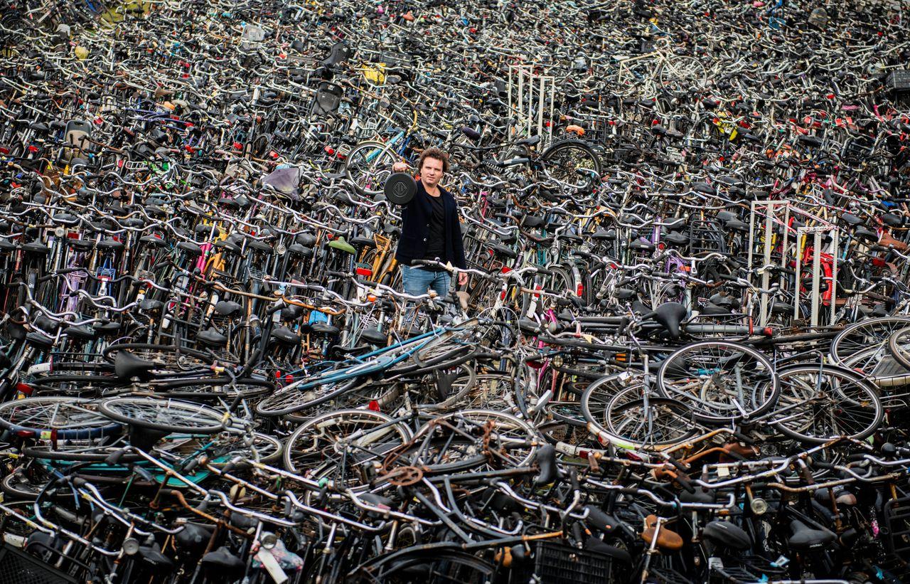 Mark Suurbier met zijn fietspan.Foto Peter Audenaerde