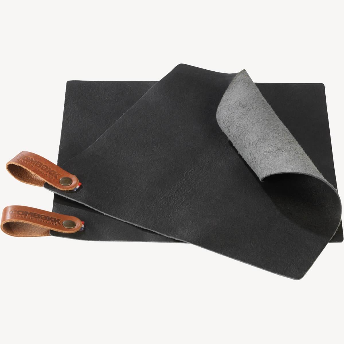 Pot Holder Leather - set of 2 Black