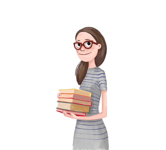 Illustration of woman with books