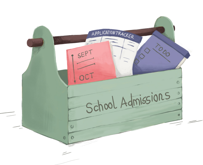 Illustration of a toolkit with admissions paperwork inside