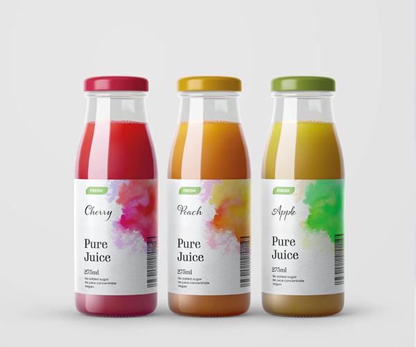 UPG paper labels on Glass Bottles