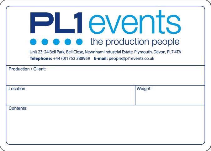 Flight Case label example PL1 Events