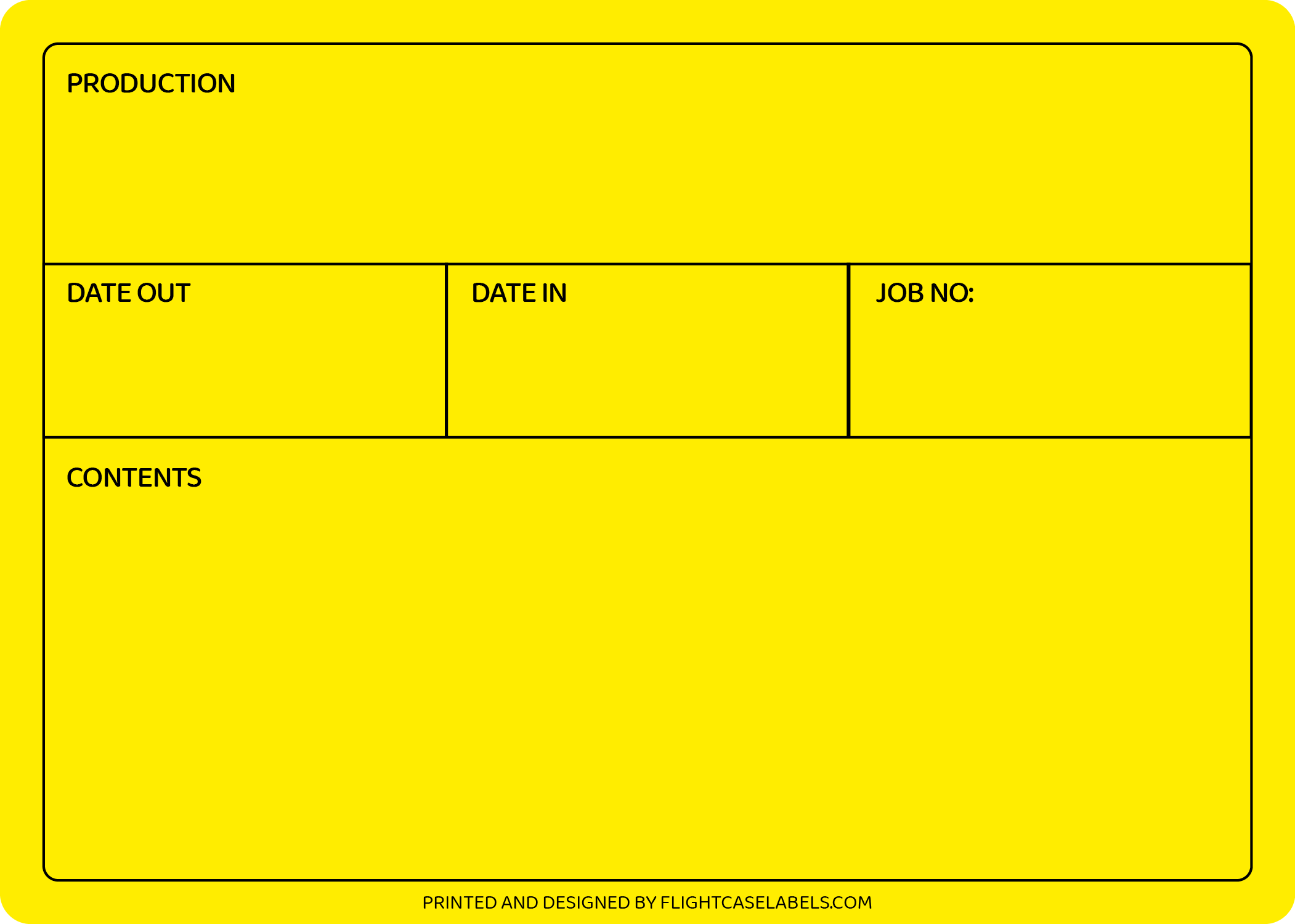 A bright yellow flight case label