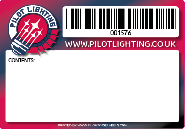 A flight case label with a Barcode