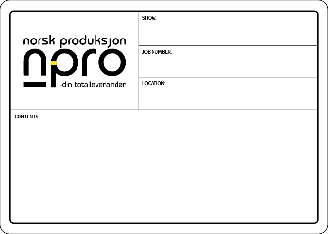 A typical flight case label