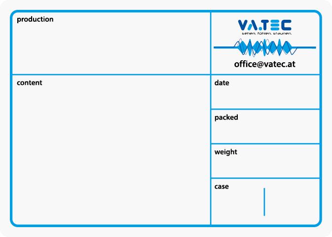 A standard flight case label