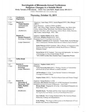 Program for SOM Conference 2011