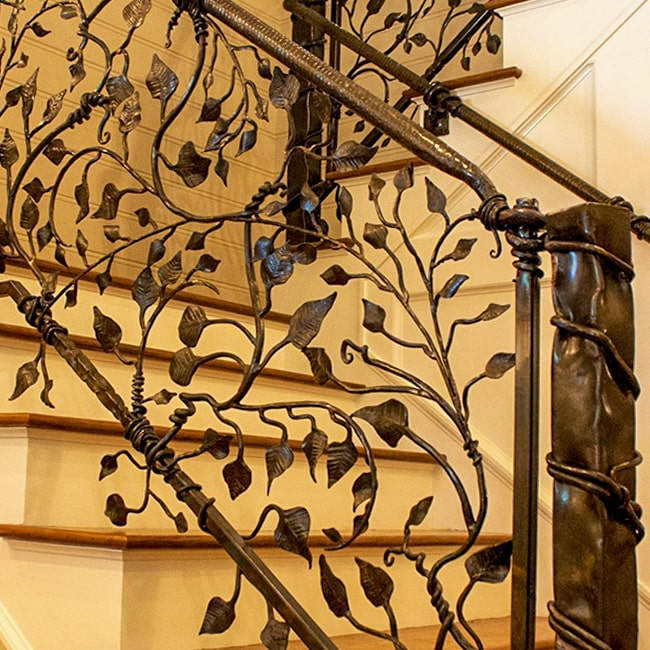 Leaf detail wrought iron