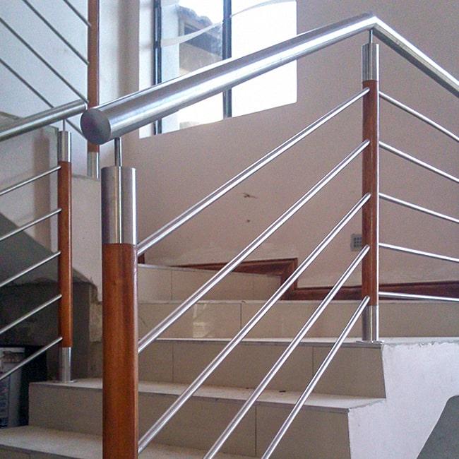 Wood and steel balustrade designs