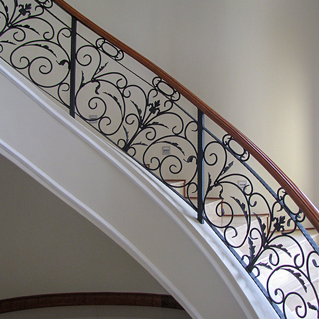 Wrought iron and wood bannisters