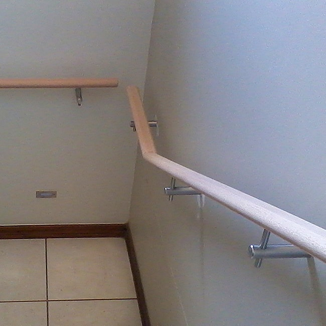 Wood handrail and steel brackets for sale