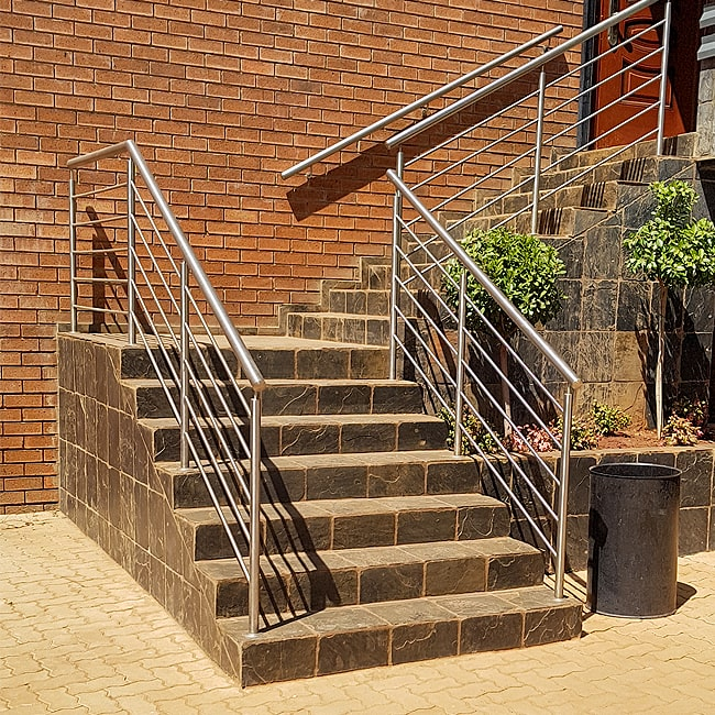 Steel staircase hand bannisters