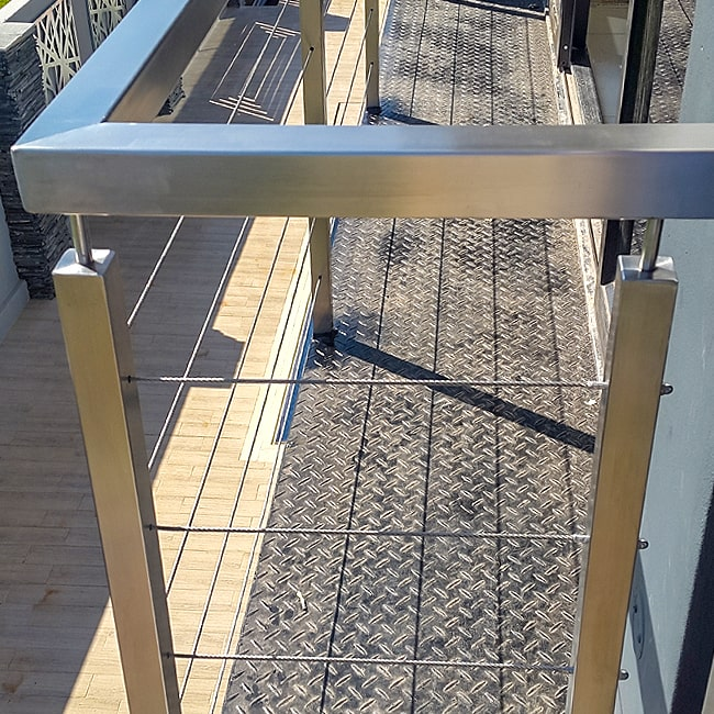 Square steel bannister rail