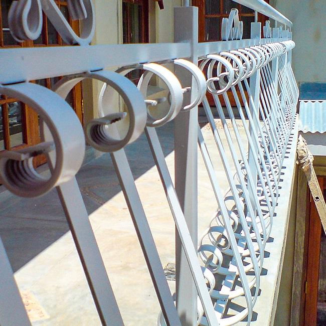 Curled steel balustrade design