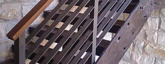 Mild Steel balustrades with wood handrail