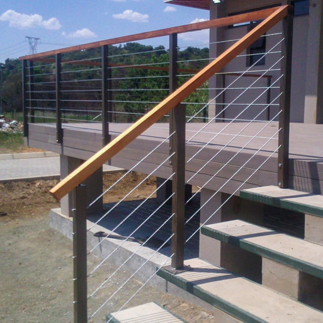 Steel and wire balustrades