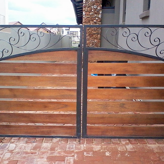 Steel frame wooden gate wrought iron