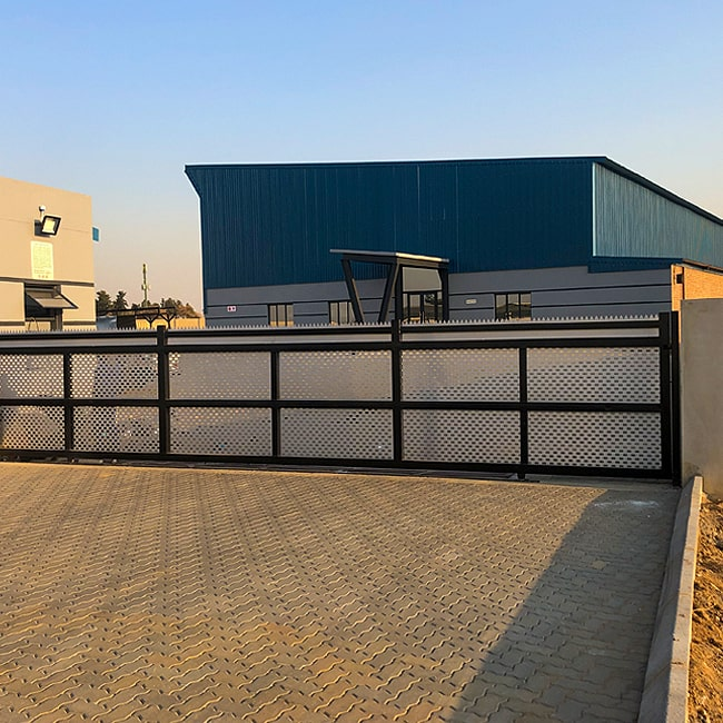 Perforated steel factory gate