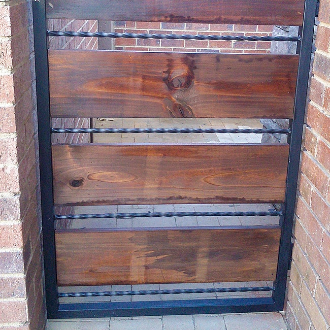 Wood and steel bar security gate for sale