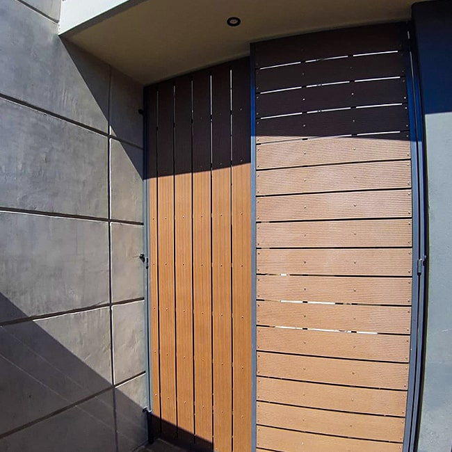 Composite wood and steel front door custom built