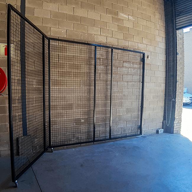 Steel mesh security gate in painted mild steel