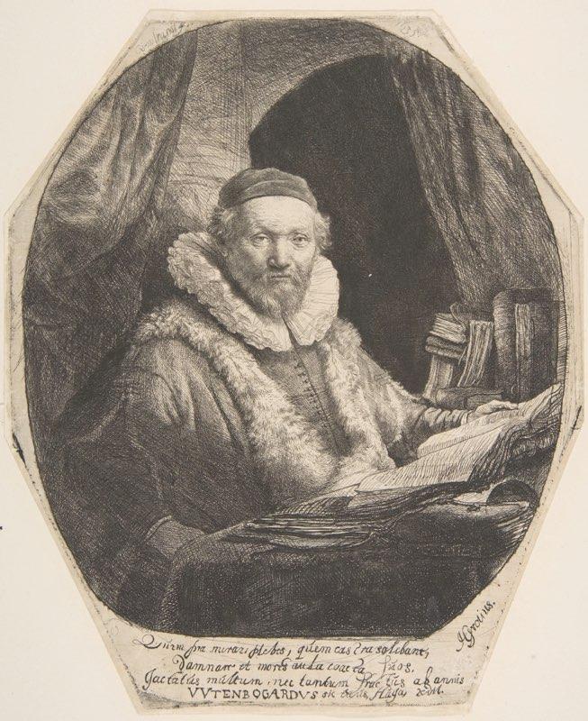 Rembrandt, Jan Uytenbogaert (Fourth State)