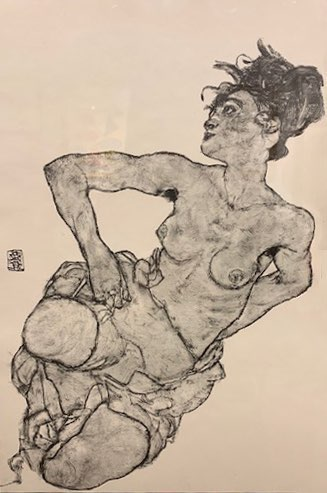 Schiele, Kneeling Female Semi Nude