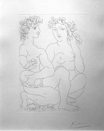 Picasso, Jeune Couple Accroupi L'Homme avec un Tambourin