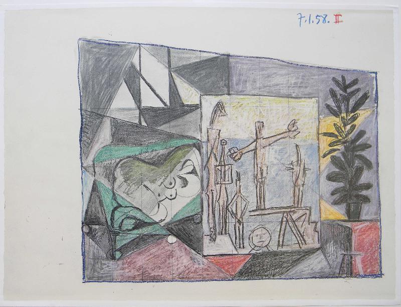 Picasso, Study for UNESCO II Red La chute d'lcare
