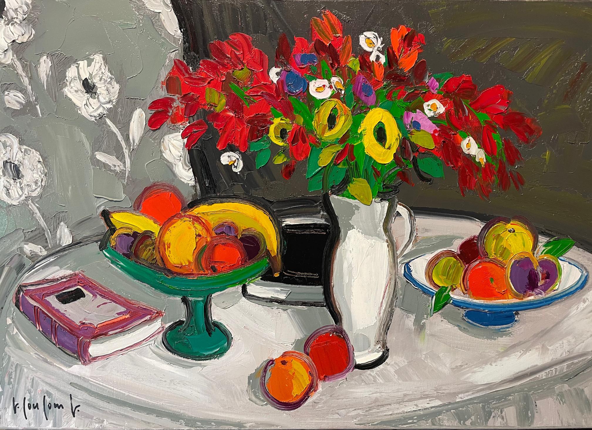 Bouquet rouge et fruits