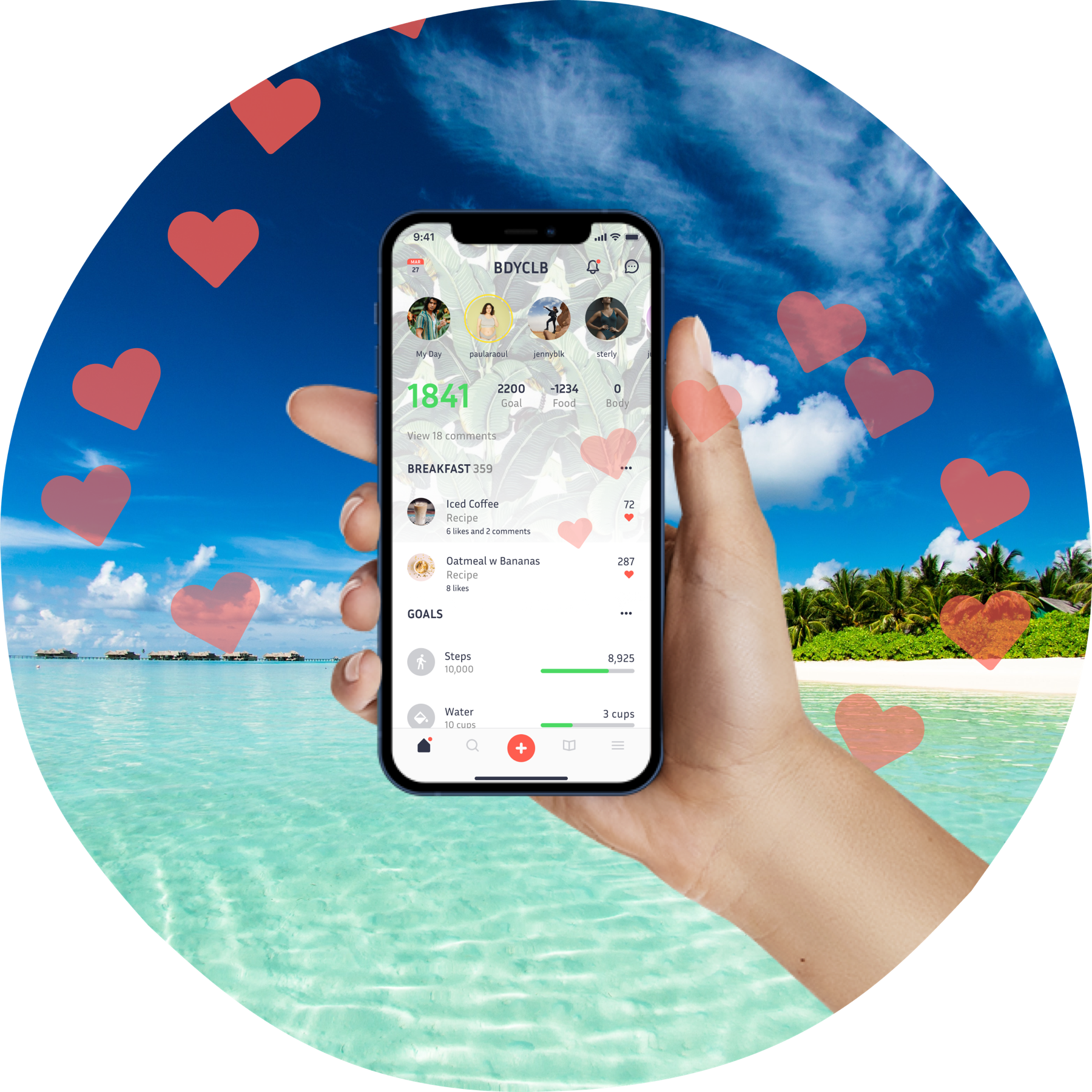 Picture of someone's hand holding a smartphone. The app open on the phone looks insane and hearts are exploding out of it, if that makes sense.