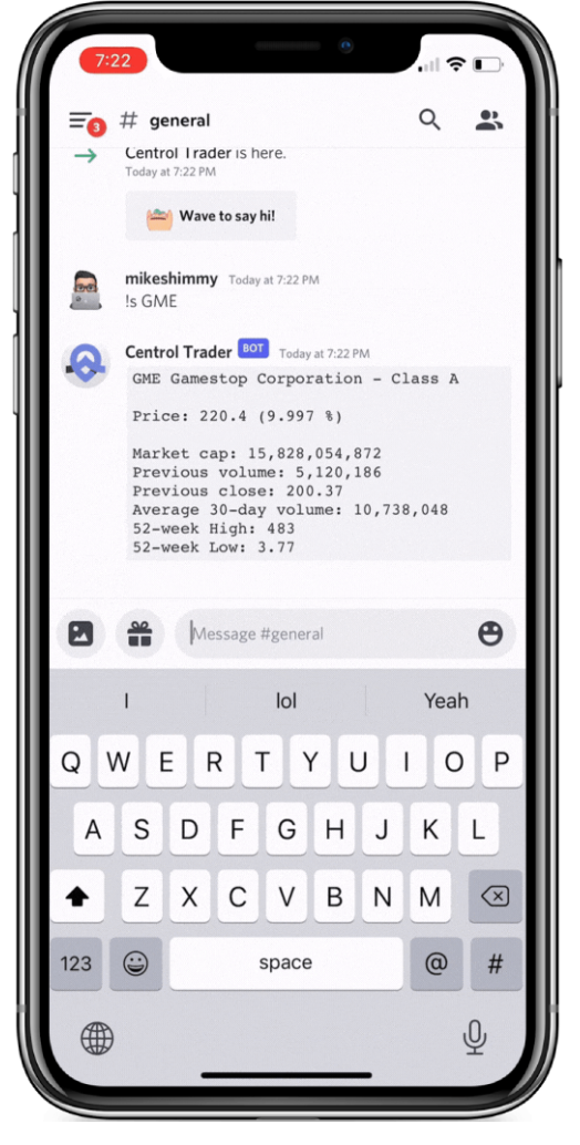 Centrol Trader Bot on Discord – users can chat with the bot, check the prices of stocks, crypto currencies and tap into the technical analysis charting from FinViz. IEX Cloud, FinViz, CoinGecko and Yahoo Finance are the data sources.