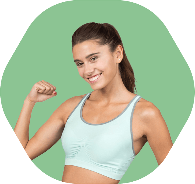 Smiling girl showing her bicep