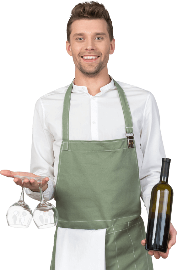 A man with 2 glasses and one bottle of wine