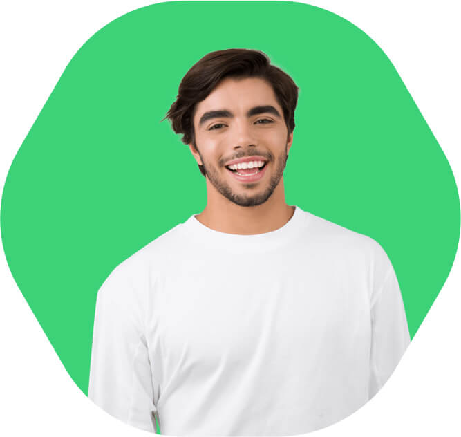 Smiling guy with a green background