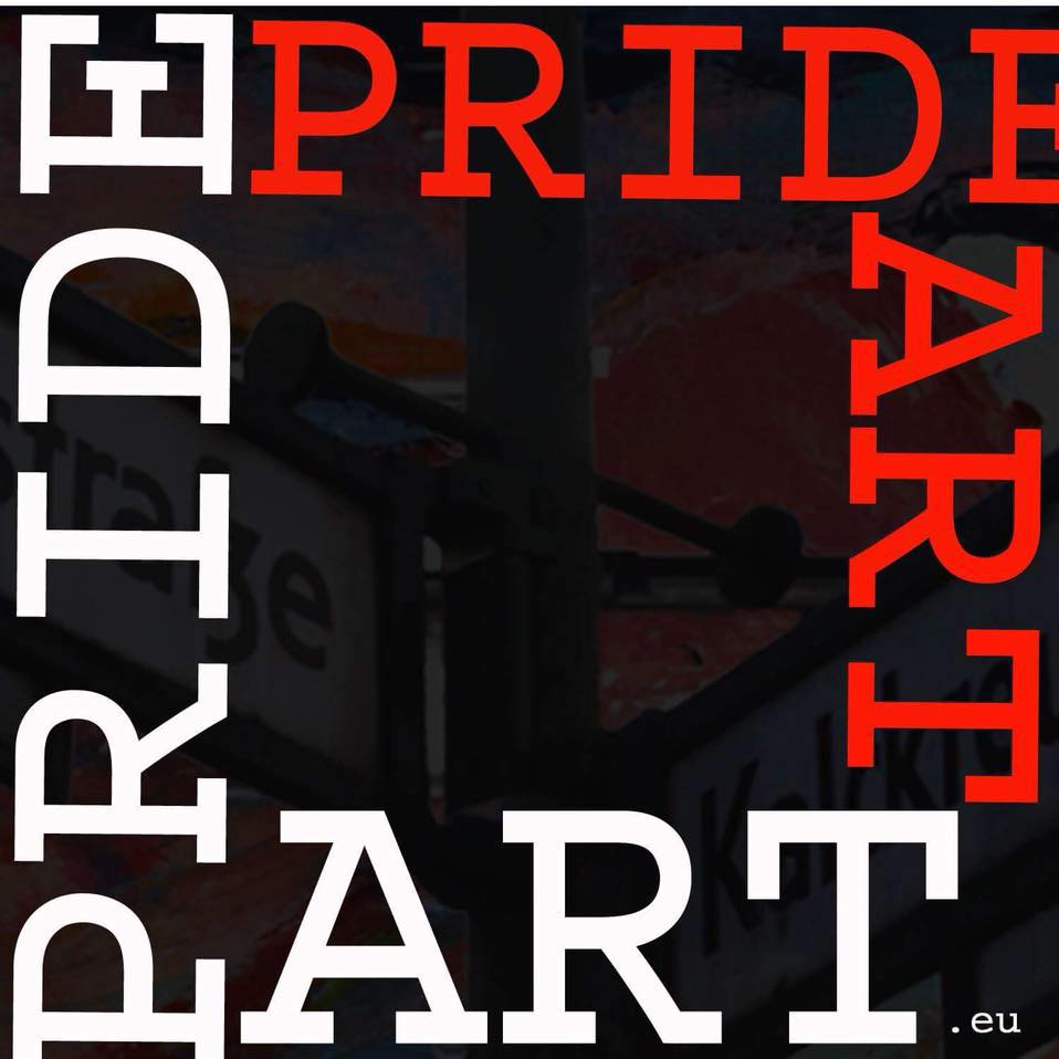 prideART logo. A square image with the text pride art in white and red lettering.