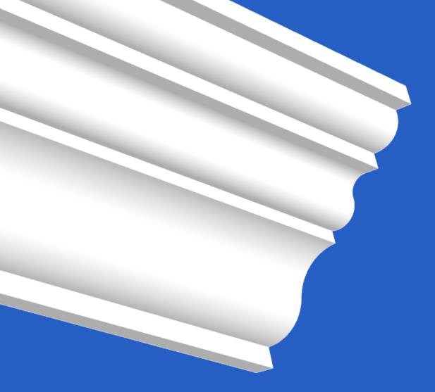 Cornice with many curves broken by sharp lines