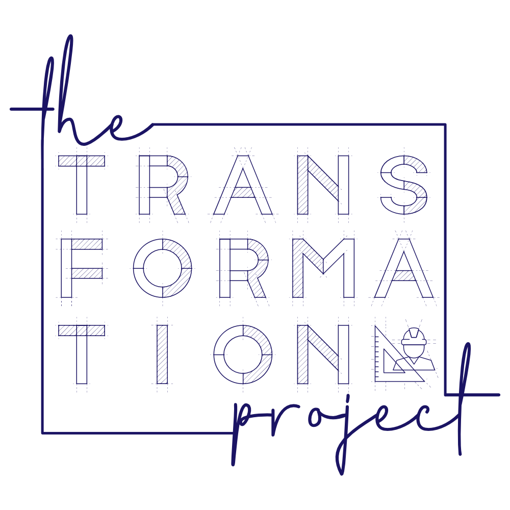 """Blue logo inspired by construction blueprints, with text that says """"The Transformation Project"""""""
