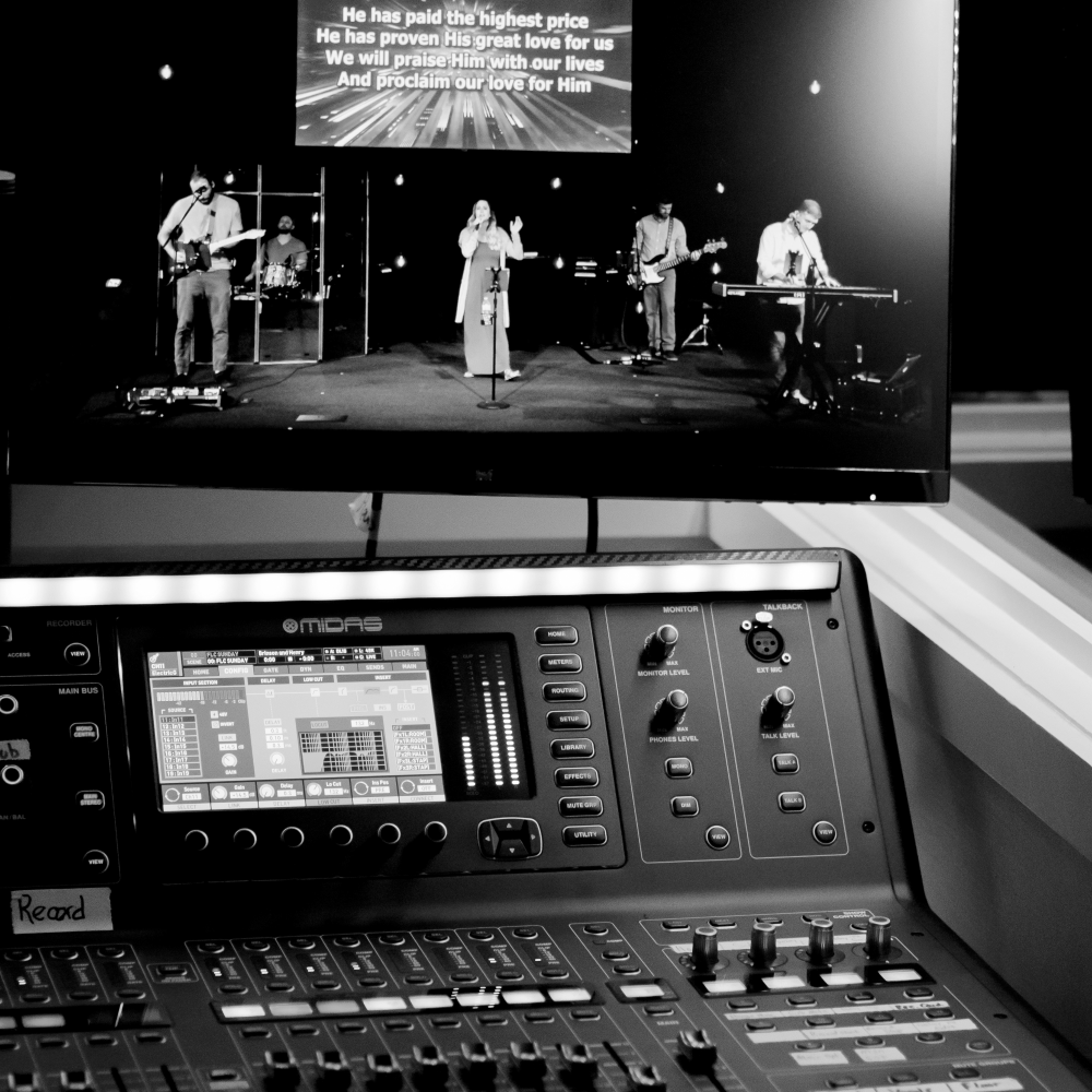 Soundboard and other AV equipment being used during a worship service