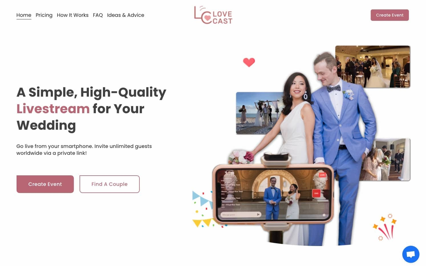 virtual wedding website
