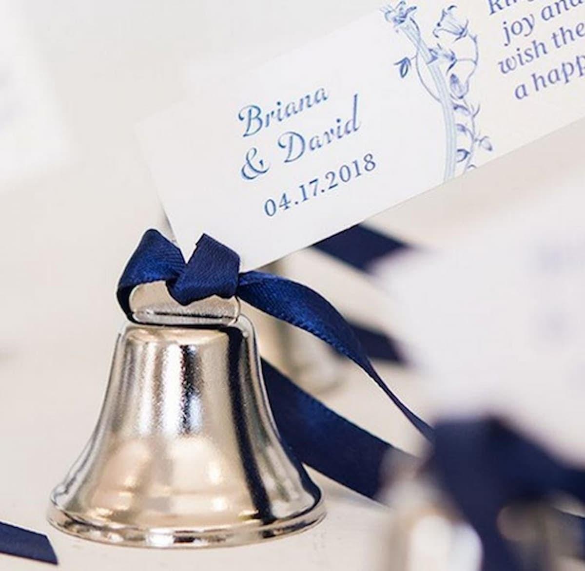 Silver jingle kissing bell for Christmas themed wedding