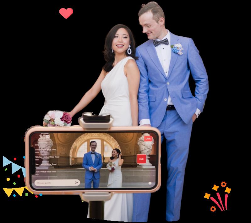 Young couple at their virtual wedding