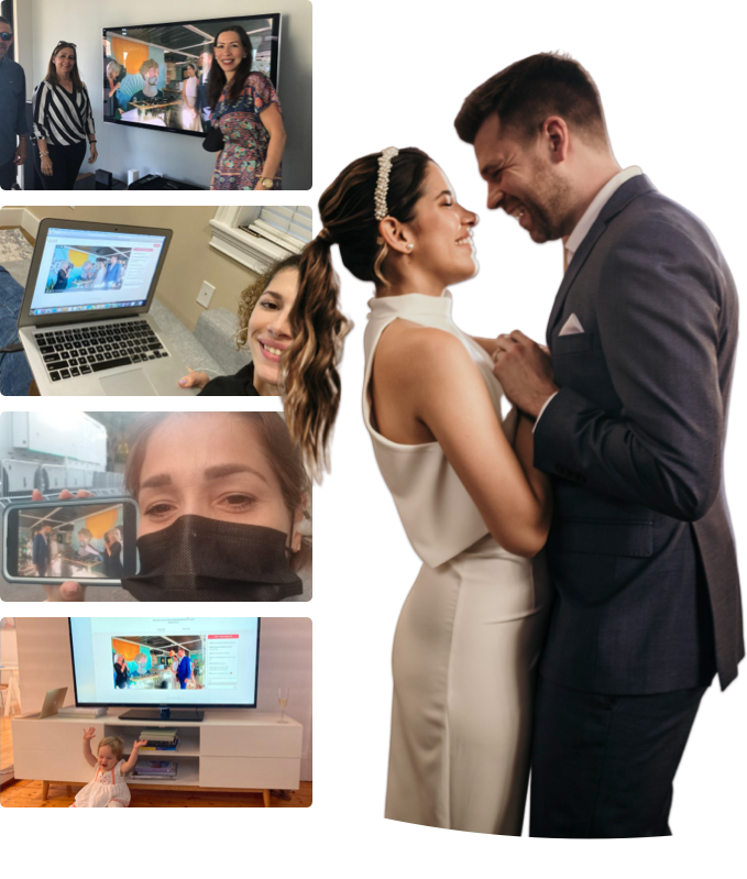 Couple with their virtual wedding guests