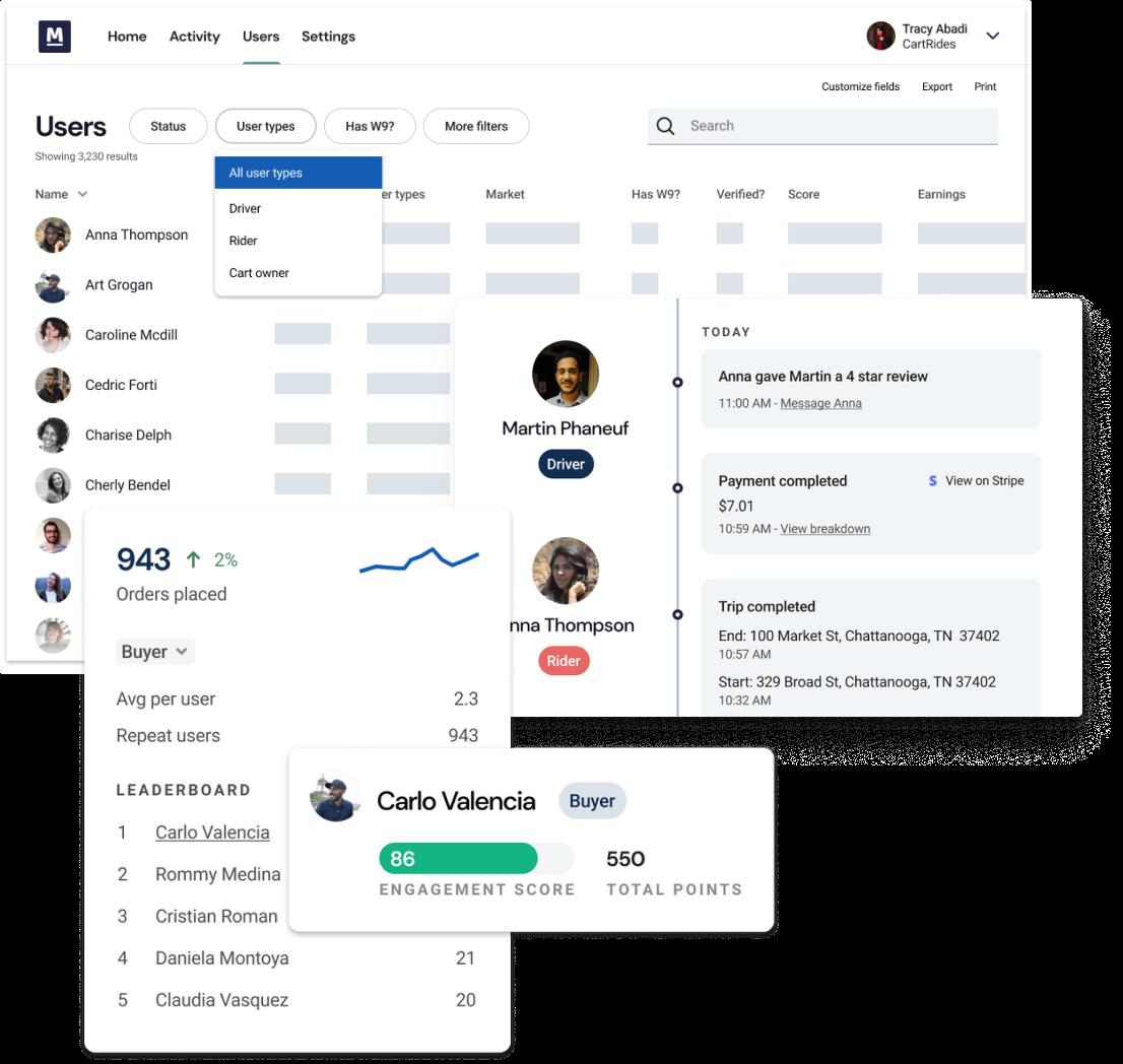 Screenshot of Marketbase's admin tools.