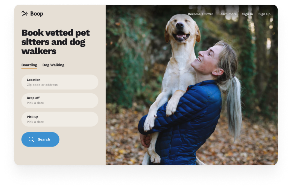 Marketplace example: connecting people to dog sitters