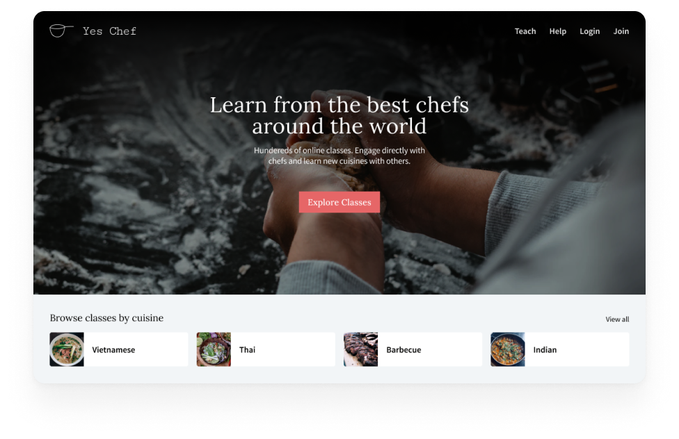 Marketplace example: connecting chefs to students