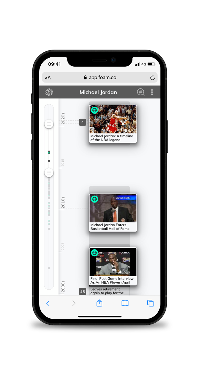 A picture of a timeline for journalists on a smartphone