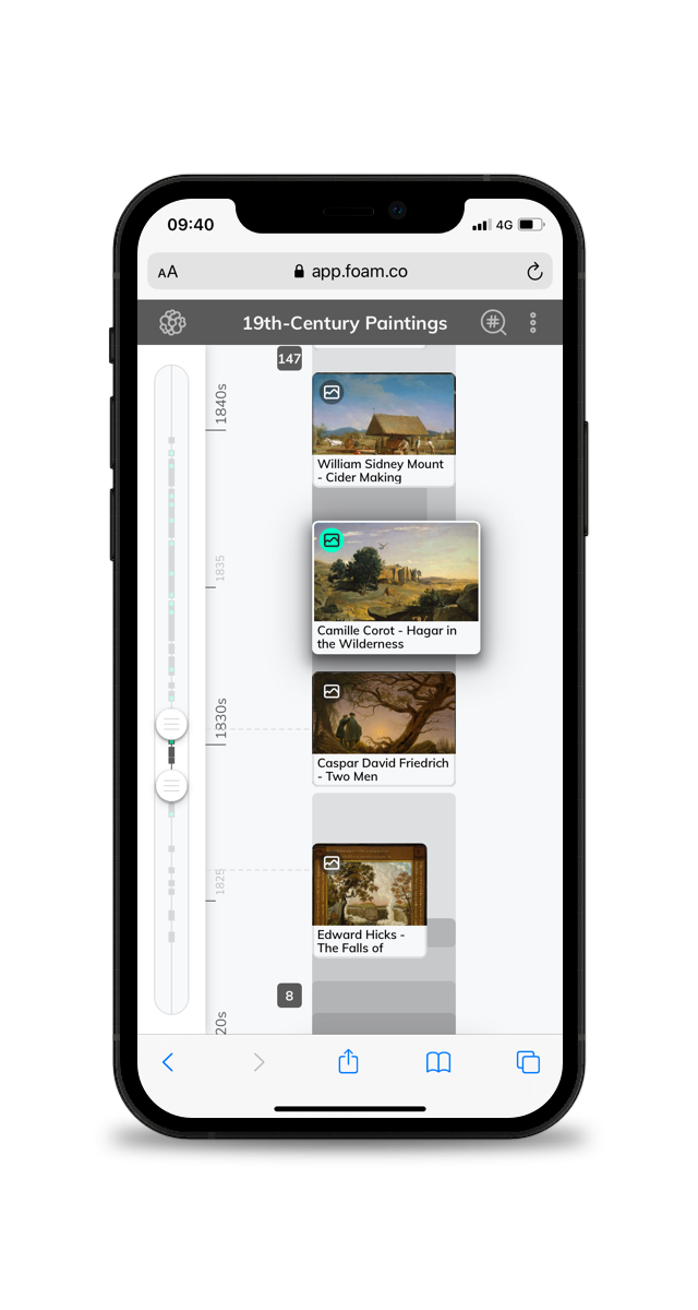 A picture of a timeline for museums on a smartphone